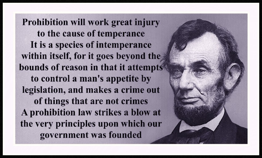 About Abraham Lincoln Prohibition Quote