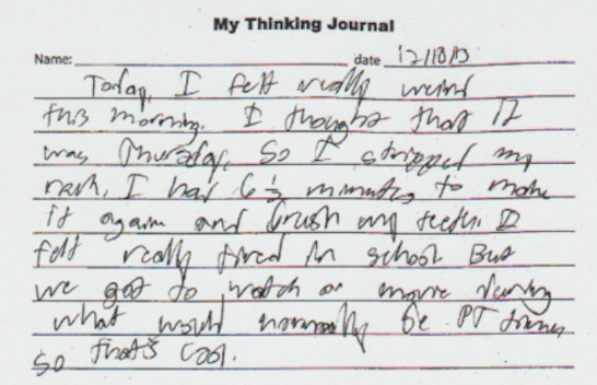 Brady's journal entry 12/10/13